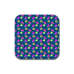 Summer Pattern Rubber Coaster (square)  by ValentinaDesign