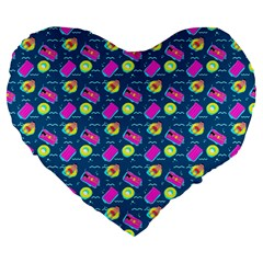 Summer Pattern Large 19  Premium Flano Heart Shape Cushions by ValentinaDesign
