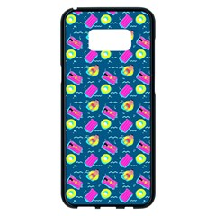 Summer Pattern Samsung Galaxy S8 Plus Black Seamless Case by ValentinaDesign