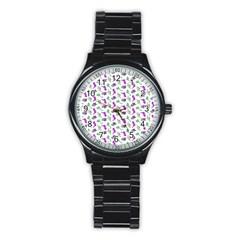 Dinosaurs Pattern Stainless Steel Round Watch by ValentinaDesign
