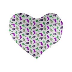 Dinosaurs Pattern Standard 16  Premium Flano Heart Shape Cushions by ValentinaDesign