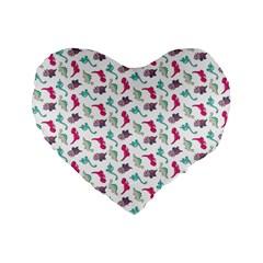 Dinosaurs Pattern Standard 16  Premium Flano Heart Shape Cushions by ValentinaDesign