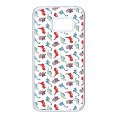 Dinosaurs Pattern Samsung Galaxy S7 White Seamless Case by ValentinaDesign