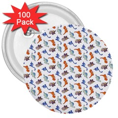 Dinosaurs Pattern 3  Buttons (100 Pack)  by ValentinaDesign