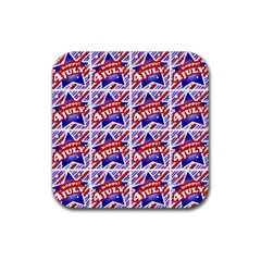 Happy 4th Of July Theme Pattern Rubber Coaster (square)  by dflcprints
