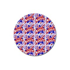 Happy 4th Of July Theme Pattern Magnet 3  (round) by dflcprints