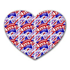 Happy 4th Of July Theme Pattern Heart Mousepads by dflcprints