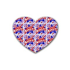 Happy 4th Of July Theme Pattern Heart Coaster (4 Pack)  by dflcprints