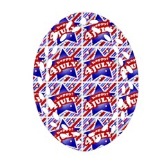 Happy 4th Of July Theme Pattern Oval Filigree Ornament (two Sides) by dflcprints