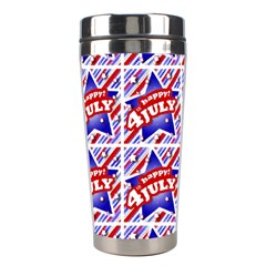 Happy 4th Of July Theme Pattern Stainless Steel Travel Tumblers by dflcprints