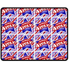 Happy 4th Of July Theme Pattern Double Sided Fleece Blanket (medium)  by dflcprints
