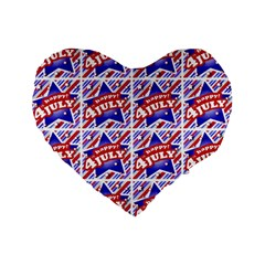 Happy 4th Of July Theme Pattern Standard 16  Premium Flano Heart Shape Cushions by dflcprints