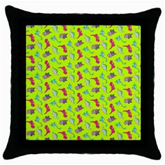 Dinosaurs Pattern Throw Pillow Case (black) by ValentinaDesign
