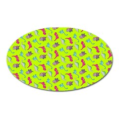 Dinosaurs Pattern Oval Magnet by ValentinaDesign