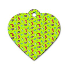 Dinosaurs Pattern Dog Tag Heart (one Side) by ValentinaDesign