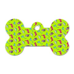Dinosaurs Pattern Dog Tag Bone (two Sides) by ValentinaDesign