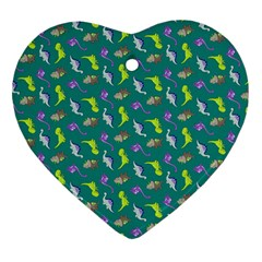 Dinosaurs Pattern Heart Ornament (two Sides) by ValentinaDesign