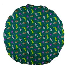 Dinosaurs Pattern Large 18  Premium Flano Round Cushions by ValentinaDesign