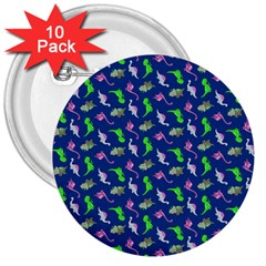 Dinosaurs Pattern 3  Buttons (10 Pack)  by ValentinaDesign