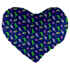 Dinosaurs Pattern Large 19  Premium Heart Shape Cushions by ValentinaDesign