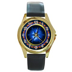 Power Core Round Gold Metal Watch