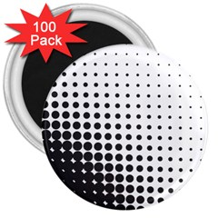Comic Dots Polka Black White 3  Magnets (100 Pack) by Mariart