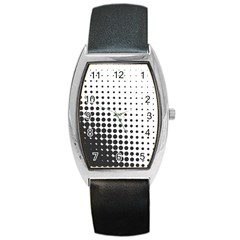 Comic Dots Polka Black White Barrel Style Metal Watch by Mariart