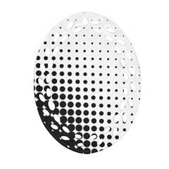 Comic Dots Polka Black White Ornament (oval Filigree) by Mariart