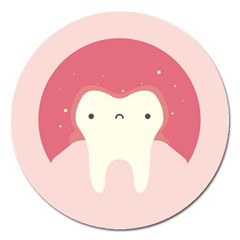 Sad Tooth Pink Magnet 5  (round) by Mariart
