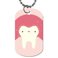 Sad Tooth Pink Dog Tag (one Side) by Mariart