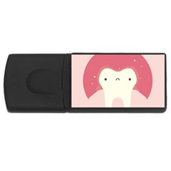 Sad Tooth Pink Usb Flash Drive Rectangular (4 Gb) by Mariart