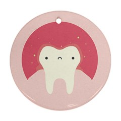Sad Tooth Pink Round Ornament (two Sides) by Mariart
