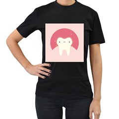 Sad Tooth Pink Women s T Shirt (black) by Mariart