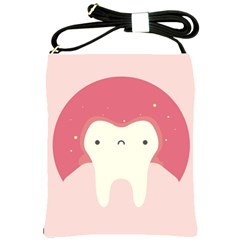 Sad Tooth Pink Shoulder Sling Bags by Mariart