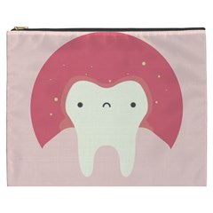 Sad Tooth Pink Cosmetic Bag (xxxl)  by Mariart