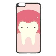 Sad Tooth Pink Apple Iphone 6 Plus/6s Plus Black Enamel Case by Mariart