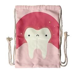 Sad Tooth Pink Drawstring Bag (large) by Mariart