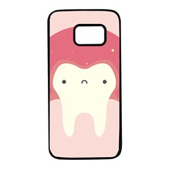 Sad Tooth Pink Samsung Galaxy S7 Black Seamless Case by Mariart