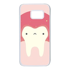 Sad Tooth Pink Samsung Galaxy S7 White Seamless Case by Mariart