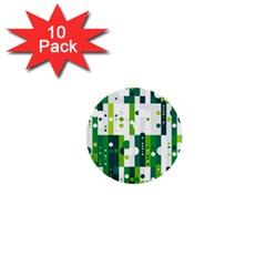 Generative Art Experiment Rectangular Circular Shapes Polka Green Vertical 1  Mini Buttons (10 Pack)  by Mariart