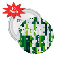 Generative Art Experiment Rectangular Circular Shapes Polka Green Vertical 2 25  Buttons (10 Pack)  by Mariart