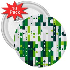 Generative Art Experiment Rectangular Circular Shapes Polka Green Vertical 3  Buttons (10 Pack)  by Mariart