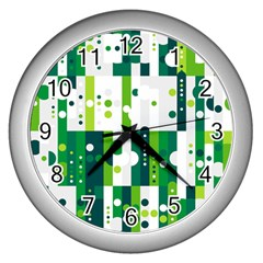 Generative Art Experiment Rectangular Circular Shapes Polka Green Vertical Wall Clocks (silver)  by Mariart