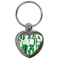 Generative Art Experiment Rectangular Circular Shapes Polka Green Vertical Key Chains (heart)  by Mariart