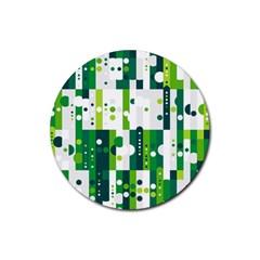 Generative Art Experiment Rectangular Circular Shapes Polka Green Vertical Rubber Round Coaster (4 Pack)  by Mariart