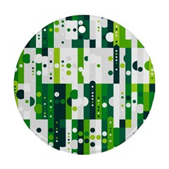 Generative Art Experiment Rectangular Circular Shapes Polka Green Vertical Round Ornament (two Sides) by Mariart
