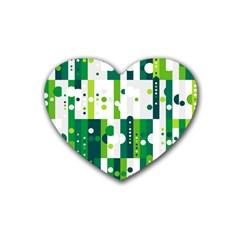 Generative Art Experiment Rectangular Circular Shapes Polka Green Vertical Heart Coaster (4 Pack)  by Mariart