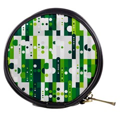 Generative Art Experiment Rectangular Circular Shapes Polka Green Vertical Mini Makeup Bags by Mariart