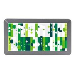 Generative Art Experiment Rectangular Circular Shapes Polka Green Vertical Memory Card Reader (mini) by Mariart