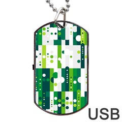 Generative Art Experiment Rectangular Circular Shapes Polka Green Vertical Dog Tag Usb Flash (one Side) by Mariart